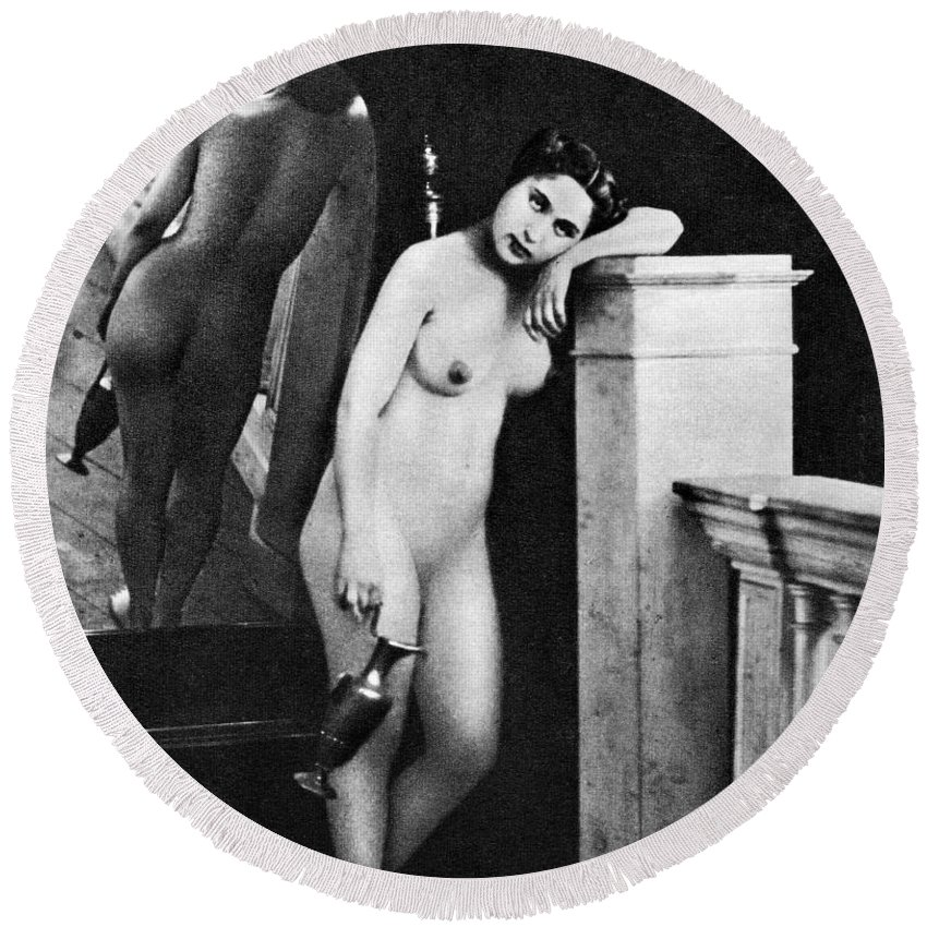 1850 Round Beach Towel featuring the photograph Nude Posing, C1850 by Granger