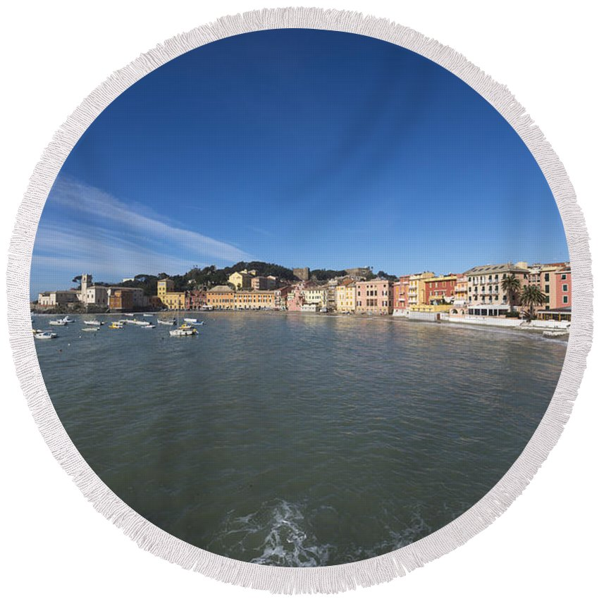 Village Round Beach Towel featuring the photograph Old Village Sestri Levante by Mats Silvan