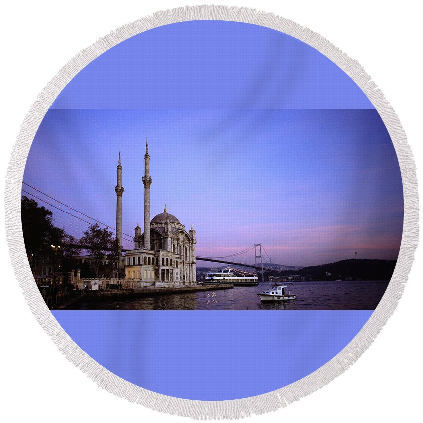 Istanbul Round Beach Towel featuring the photograph Ortakoy Mosque by Shaun Higson