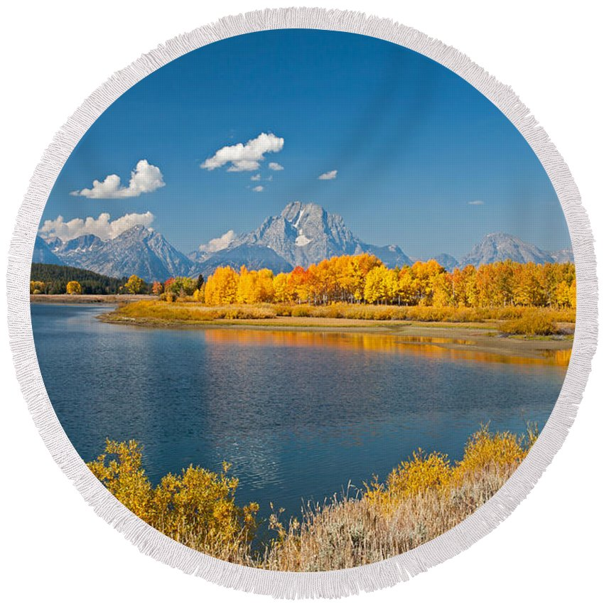 Autumn Round Beach Towel featuring the photograph Oxbow Bend Grand Teton National Park by Fred Stearns