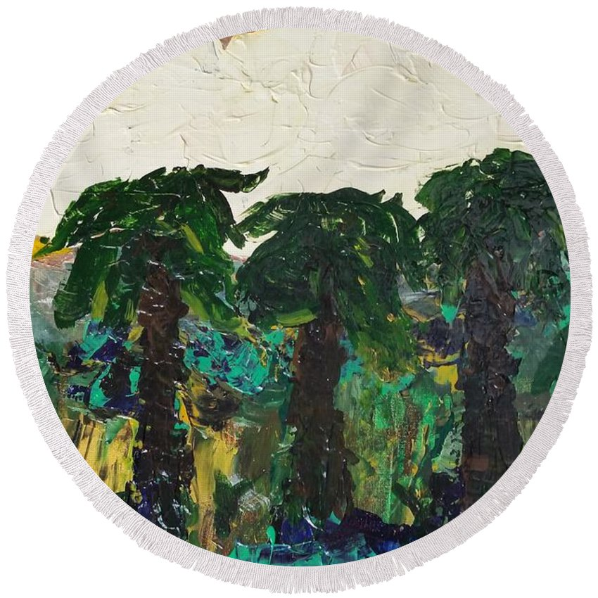 Palms Round Beach Towel featuring the painting 3 Palms by Peter Nervo