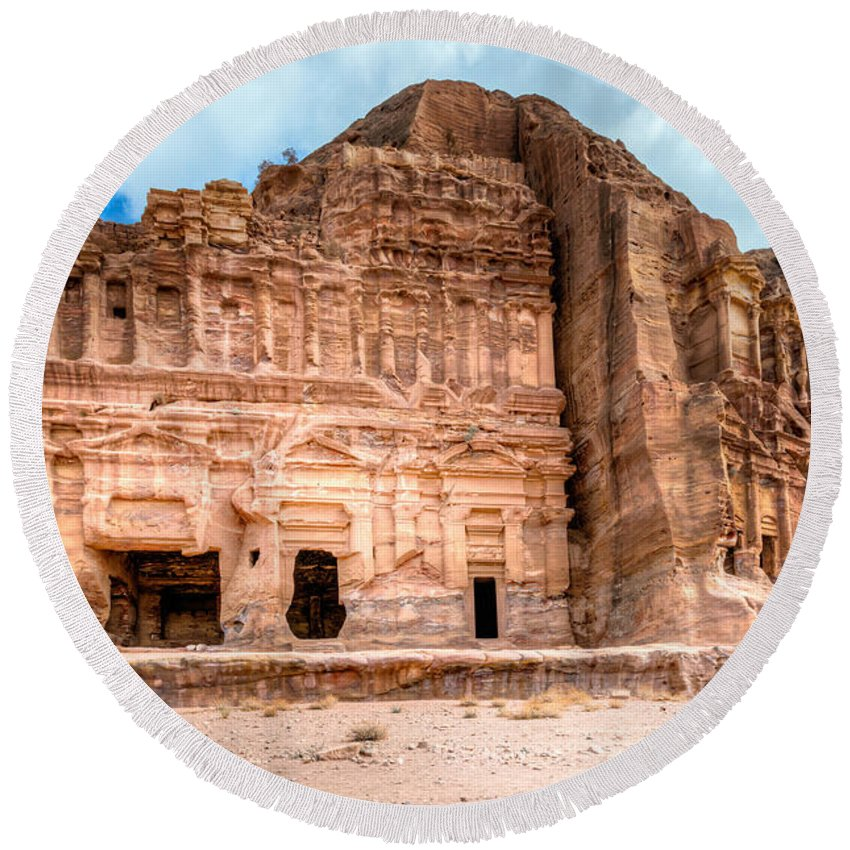 Petra Round Beach Towel featuring the photograph Petra by Alexey Stiop