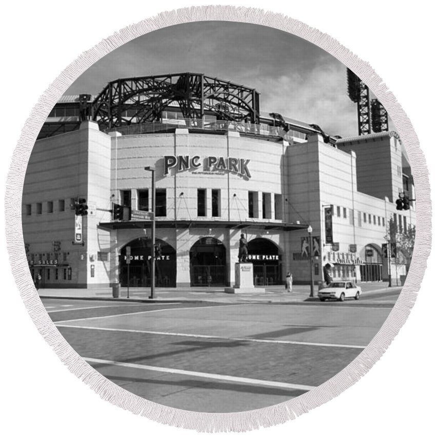 America Round Beach Towel featuring the photograph Pnc Park - Pittsburgh Pirates by Frank Romeo