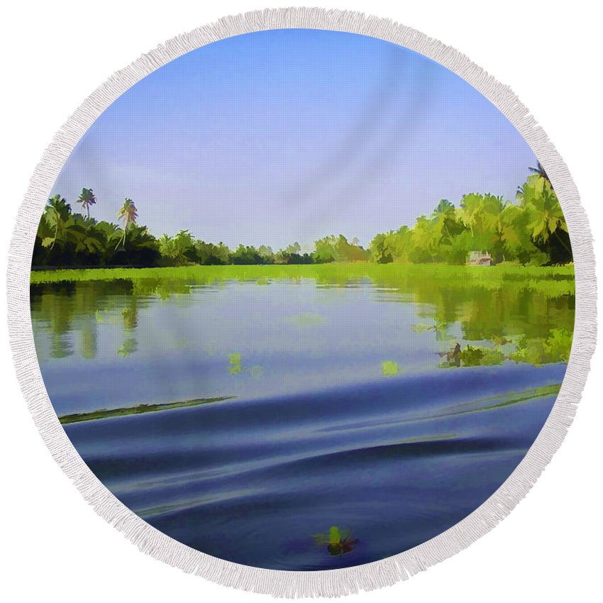 Alleppey Round Beach Towel featuring the digital art Ripples On The Saltwater Lagoon by Ashish Agarwal