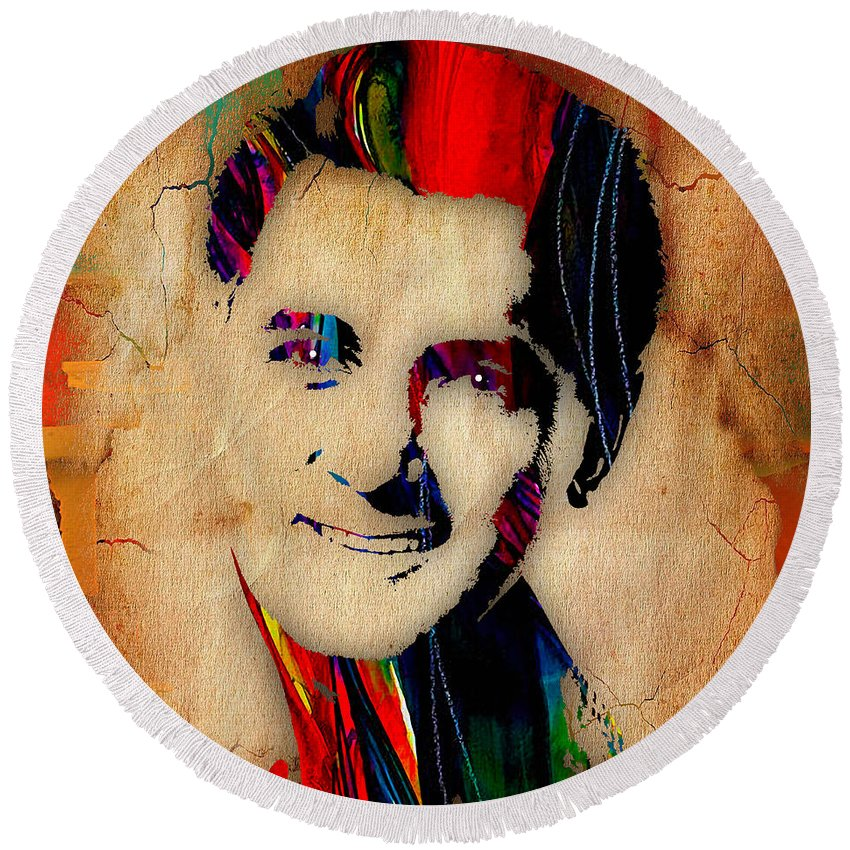 Rock Hudson Round Beach Towel featuring the mixed media Rock Hudson Collection by Marvin Blaine