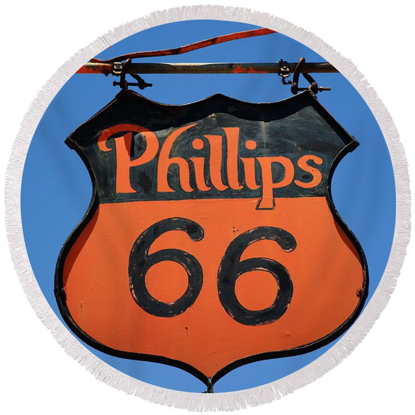 66 Round Beach Towel featuring the photograph Route 66 - Phillips 66 Petroleum by Frank Romeo
