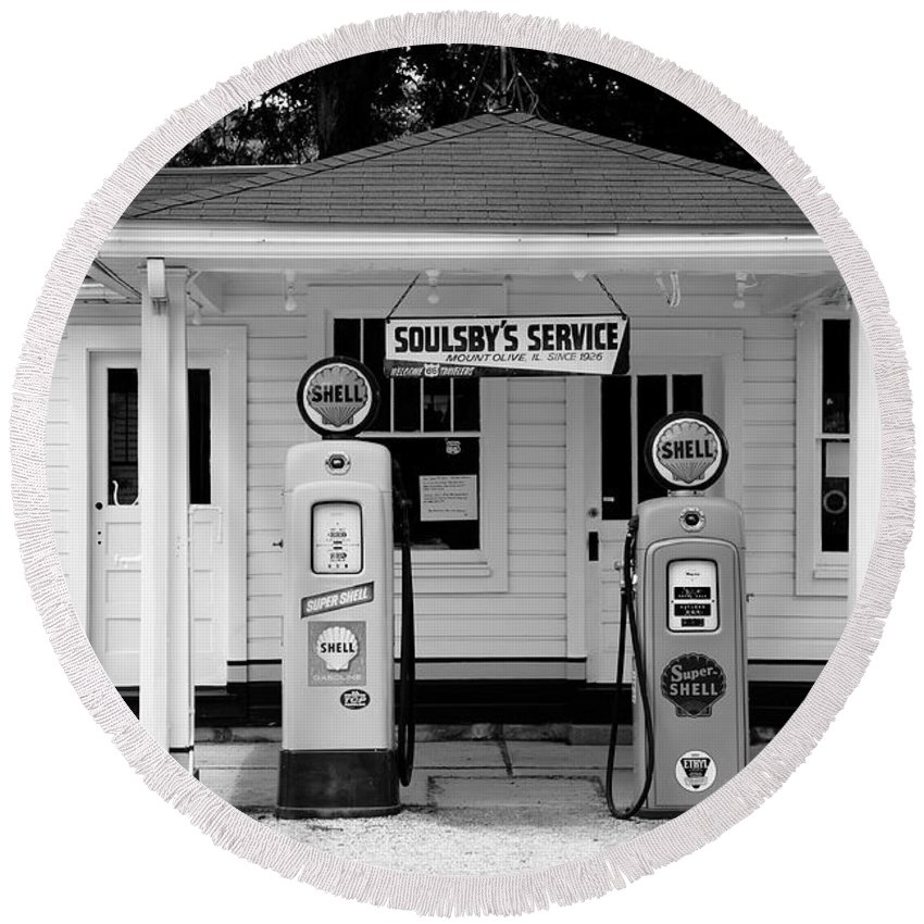 66 Round Beach Towel featuring the photograph Route 66 - Soulsby Station Pumps by Frank Romeo