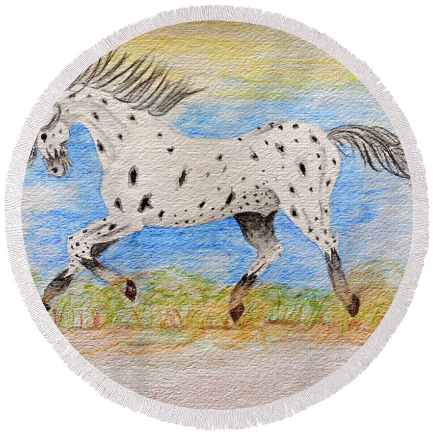 Nature Round Beach Towel featuring the painting Running Free by Debbie Portwood