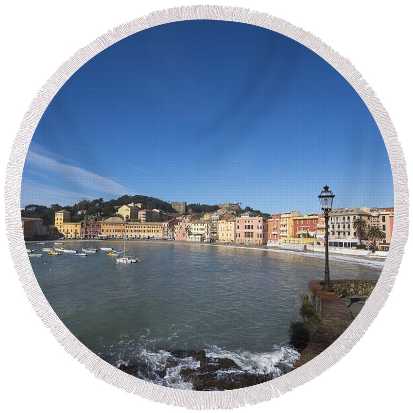 Village Round Beach Towel featuring the photograph Sestri Levante by Mats Silvan