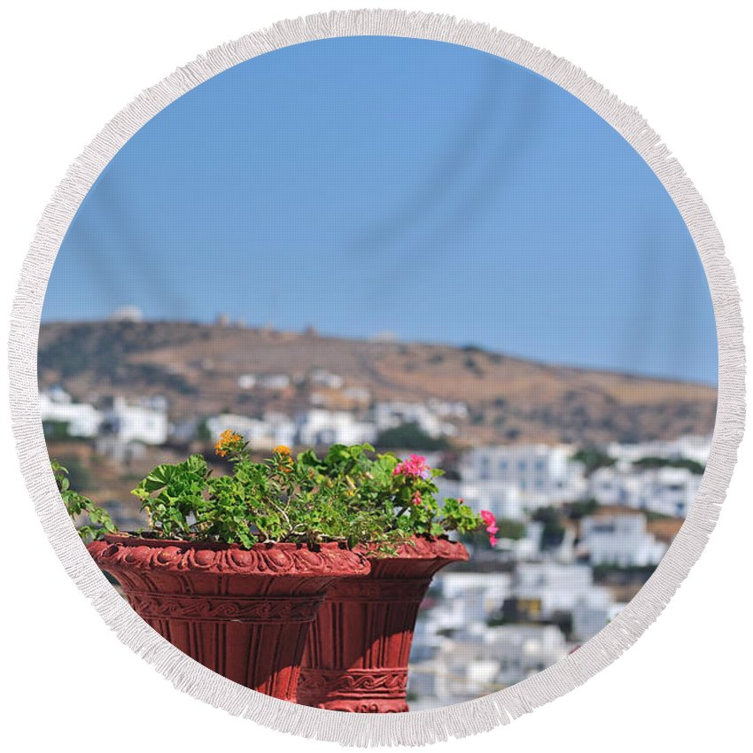 Sifnos; Apollonia; City; Town; Greece; Greek; Hellas; Cyclades; Kyklades; Aegean; Islands; Blurred Background; Holidays; Vacation; Travel; Trip; Island; Voyage; Journey; Tourism; Touristic; Summer; House; Houses; Blue Sky; Flowers; Pots; Flowerpots; Sunny Round Beach Towel featuring the photograph Flowerpots In Sifnos Island by George Atsametakis