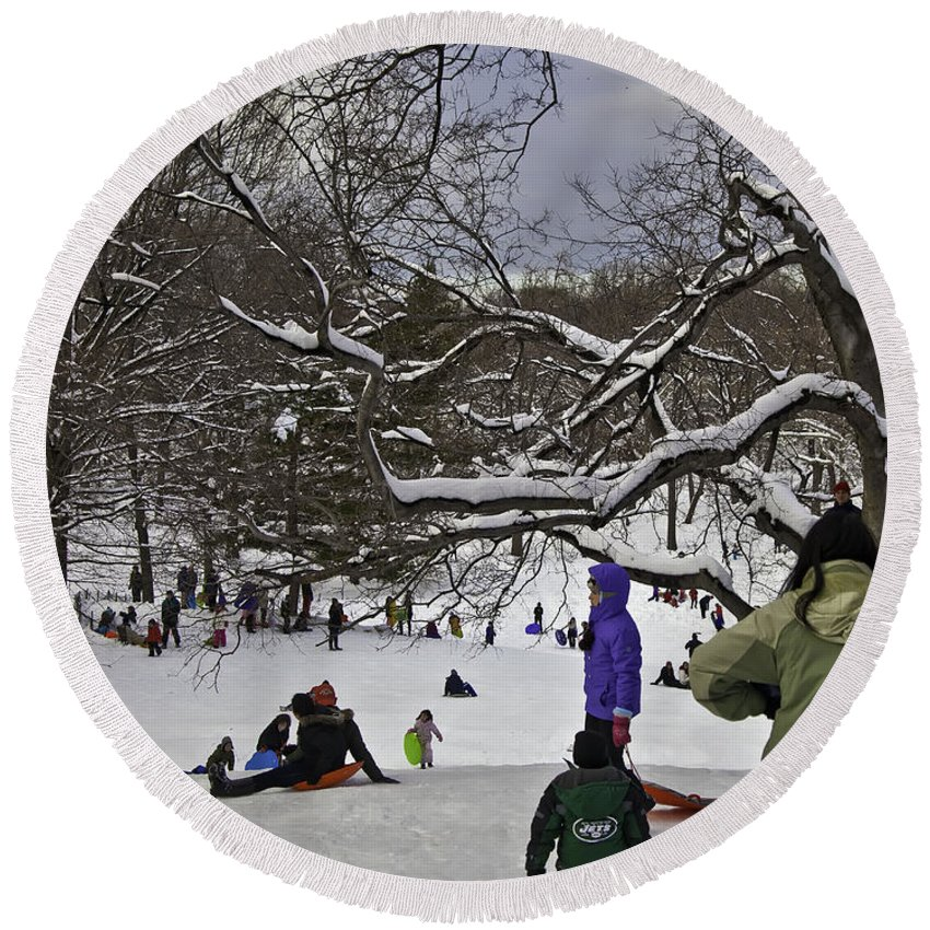 Snowboard Round Beach Towel featuring the photograph Snowboarding In Central Park 2011 by Madeline Ellis