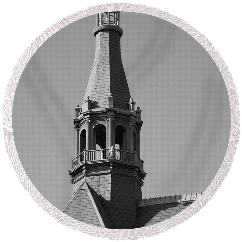 America Round Beach Towel featuring the photograph Steeple by Frank Romeo