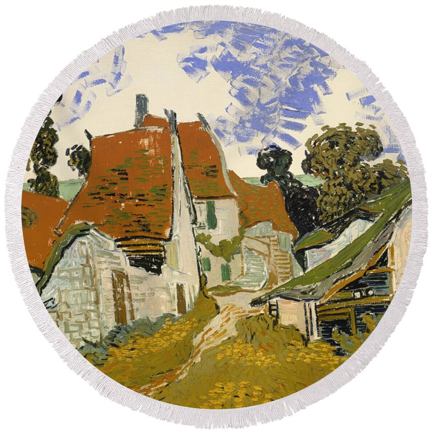 Painting Round Beach Towel featuring the painting Street In Auvers-sur-oise by Mountain Dreams