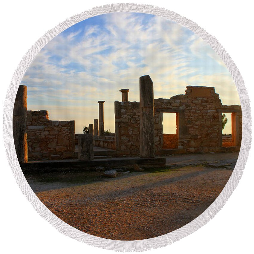Ancient Round Beach Towel featuring the photograph Temple Of Apollo by Augusta Stylianou