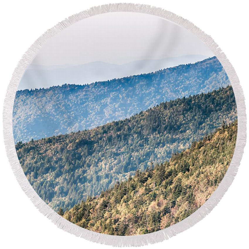 Sunset Round Beach Towel featuring the photograph The Simple Layers Of The Smokies At Sunset - Smoky Mountain Nat. by Alex Grichenko