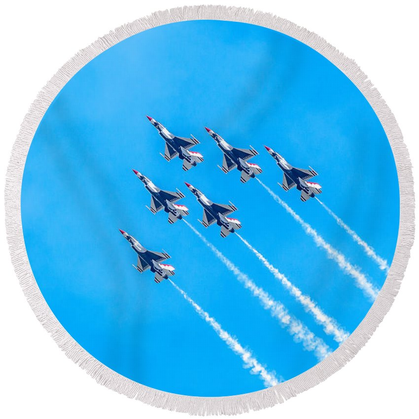 Thunderbirds Round Beach Towel featuring the photograph Thunderbirds And Blue Sky by Amel Dizdarevic
