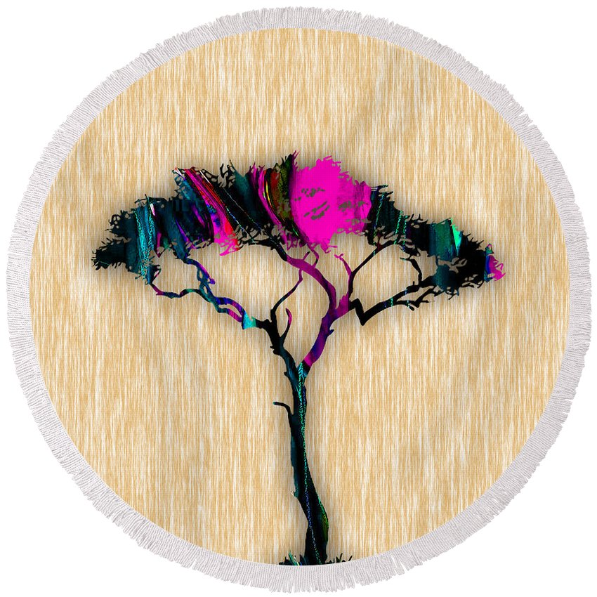 Tree Round Beach Towel featuring the mixed media Tree Art by Marvin Blaine