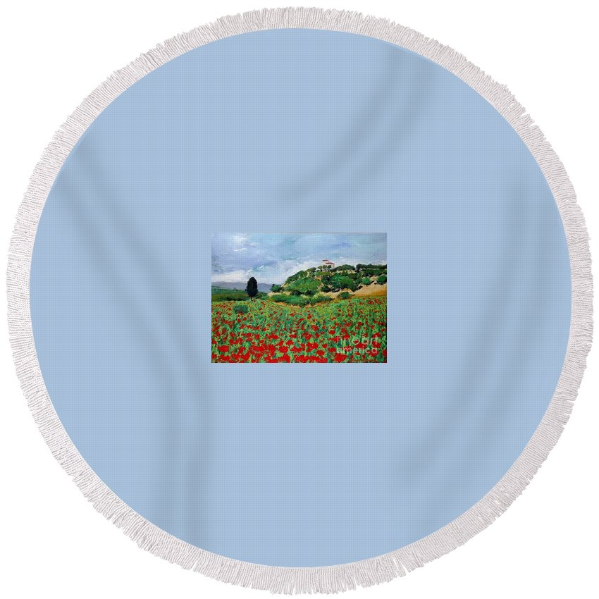 Landscape Round Beach Towel featuring the painting Tuscan Poppies by Allan P Friedlander