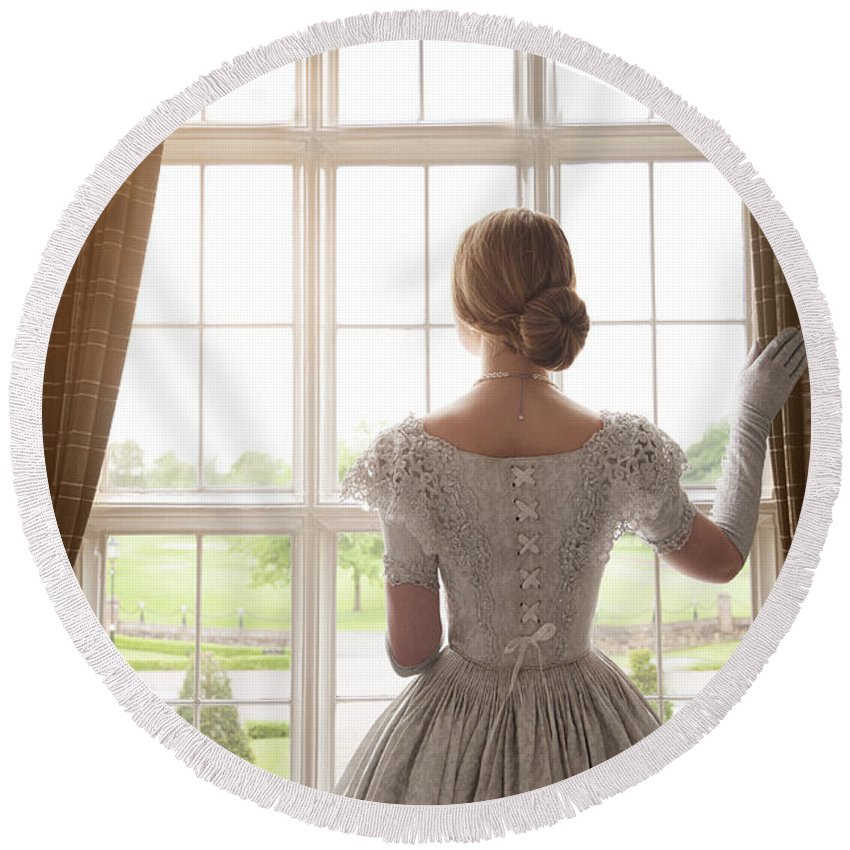 Victorian Round Beach Towel featuring the photograph Victorian Woman At A Window by Lee Avison