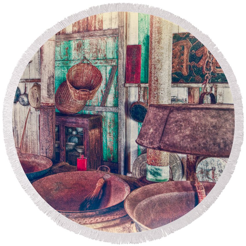 Hdr Round Beach Towel featuring the photograph 3-wok Kitchen by Jim Thompson