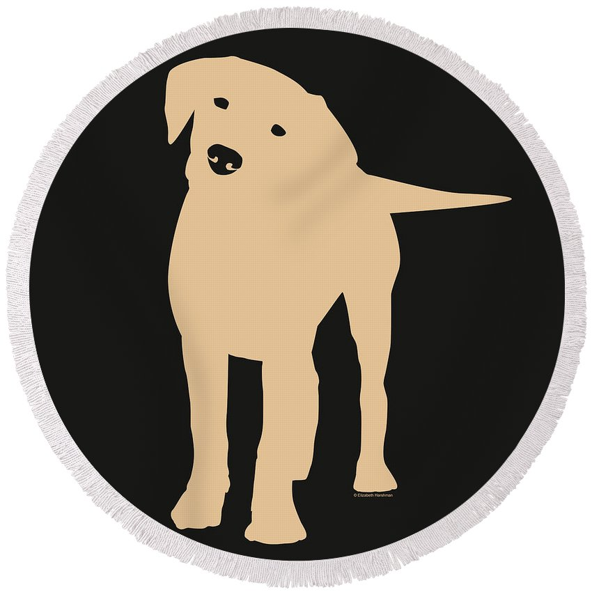 Silhouette Round Beach Towel featuring the digital art Yellow Labrador by Elizabeth Harshman