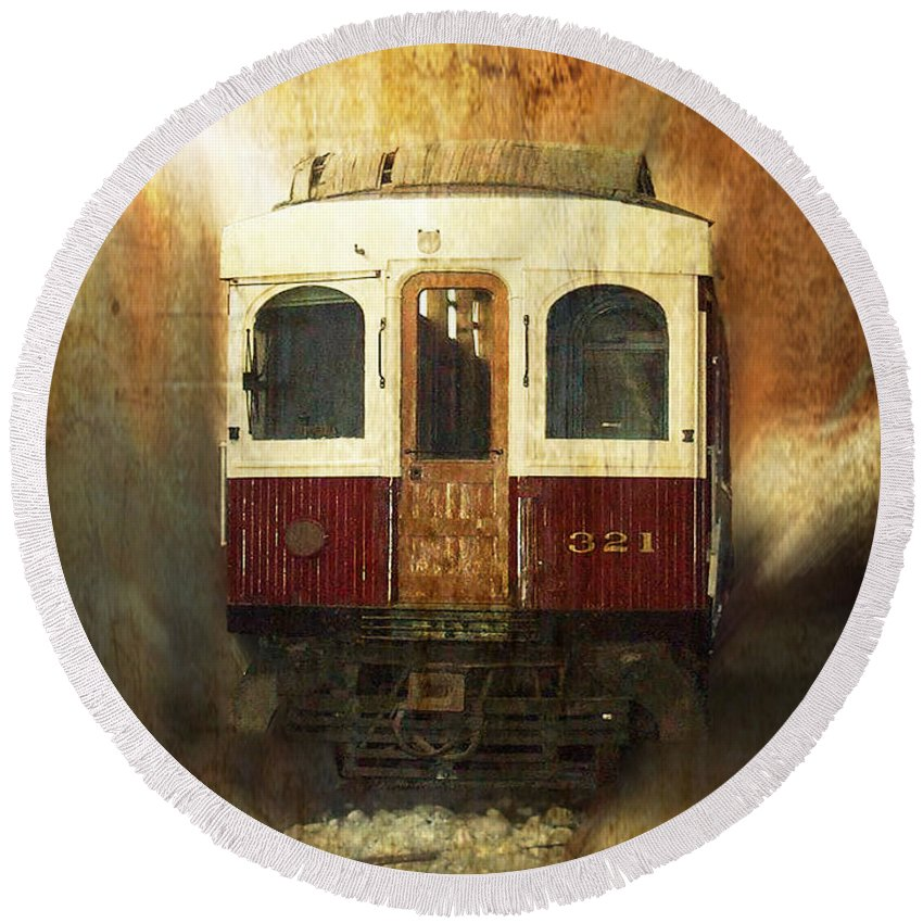 Train Engine Round Beach Towel featuring the mixed media 321 Antique Passenger Train Car Textured by Thomas Woolworth