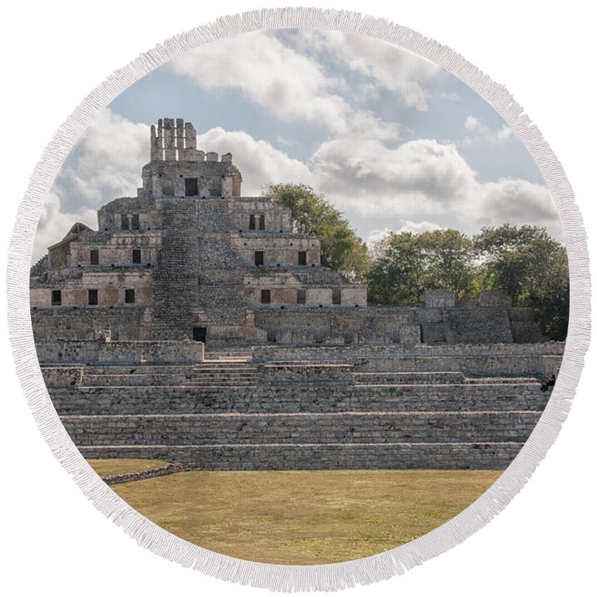 Mexico Campeche Round Beach Towel featuring the digital art Edzna In Campeche by Carol Ailles