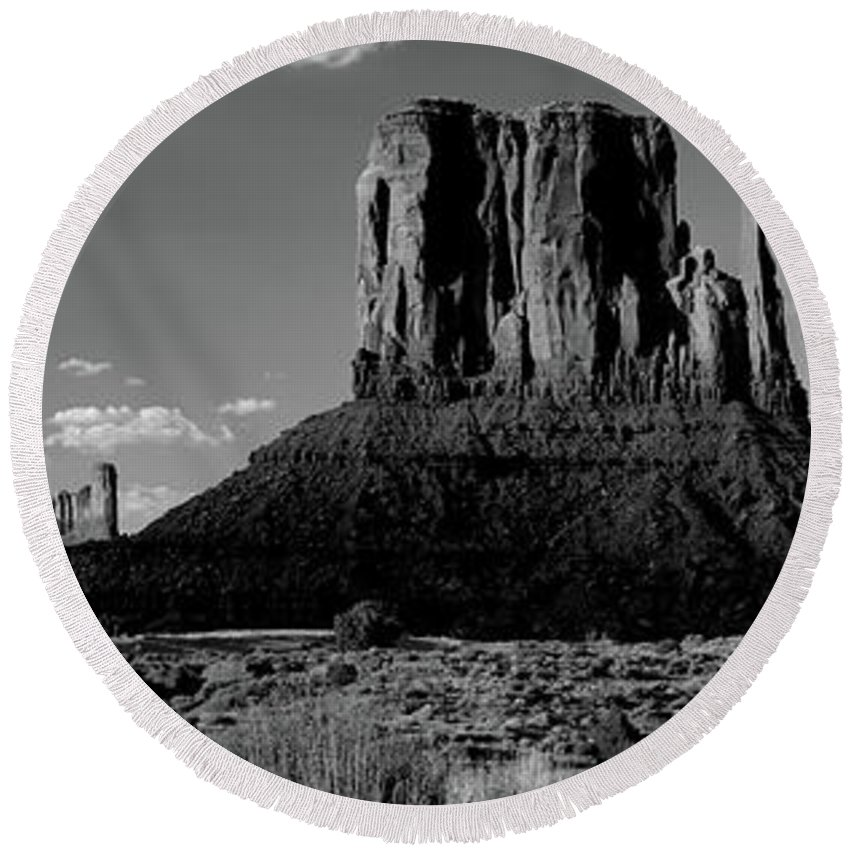 Photography Round Beach Towel featuring the photograph Rock Formations On A Landscape by Panoramic Images