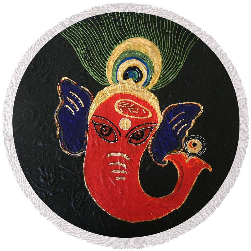 Ganesha Round Beach Towel featuring the painting 34 Ganadhakshya Ganesha by Kruti Shah