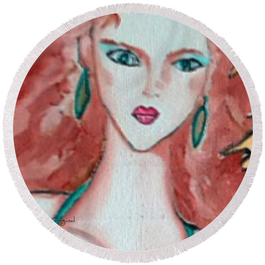 Pikotine Round Beach Towel featuring the painting Pikotine Art by Pikotine Art