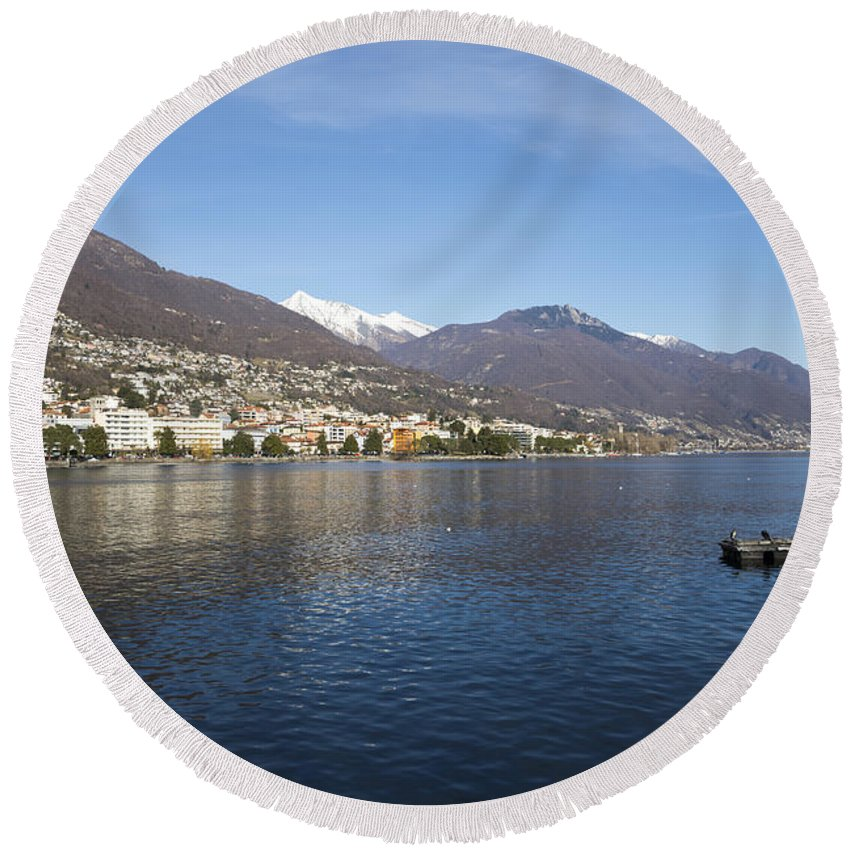 Lake Round Beach Towel featuring the photograph Alpine Lake by Mats Silvan