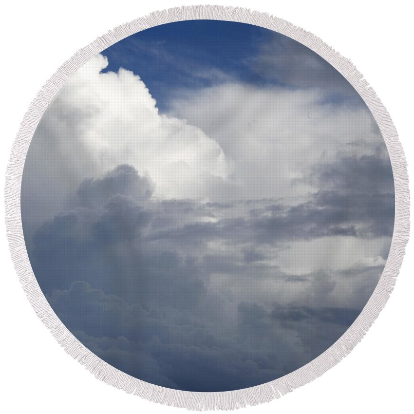 Dramatic Sky Round Beach Towel featuring the photograph Clouds by Les Cunliffe