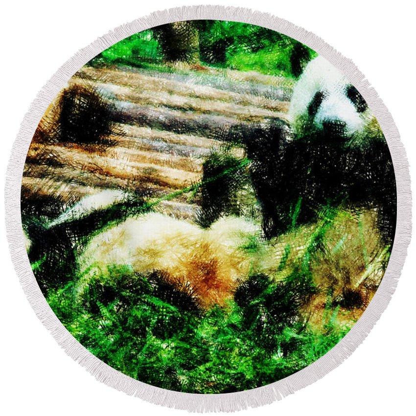 Asia Round Beach Towel featuring the digital art 3722-panda - Pastel Pencils by David Lange