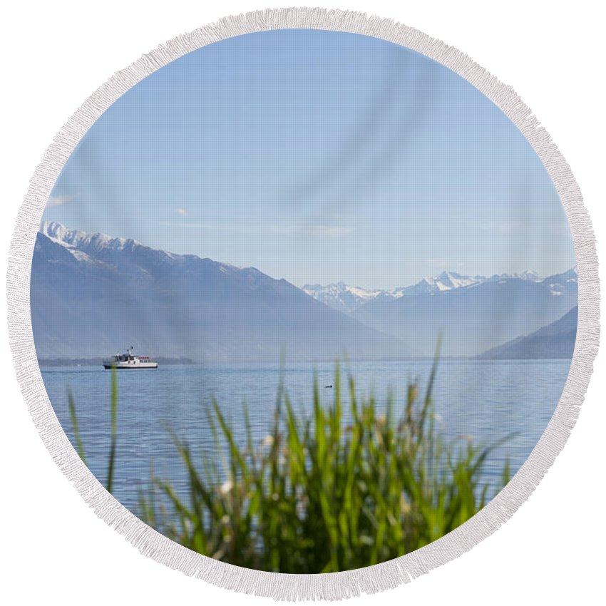 Passenger Ship Round Beach Towel featuring the photograph Alpine Lake by Mats Silvan