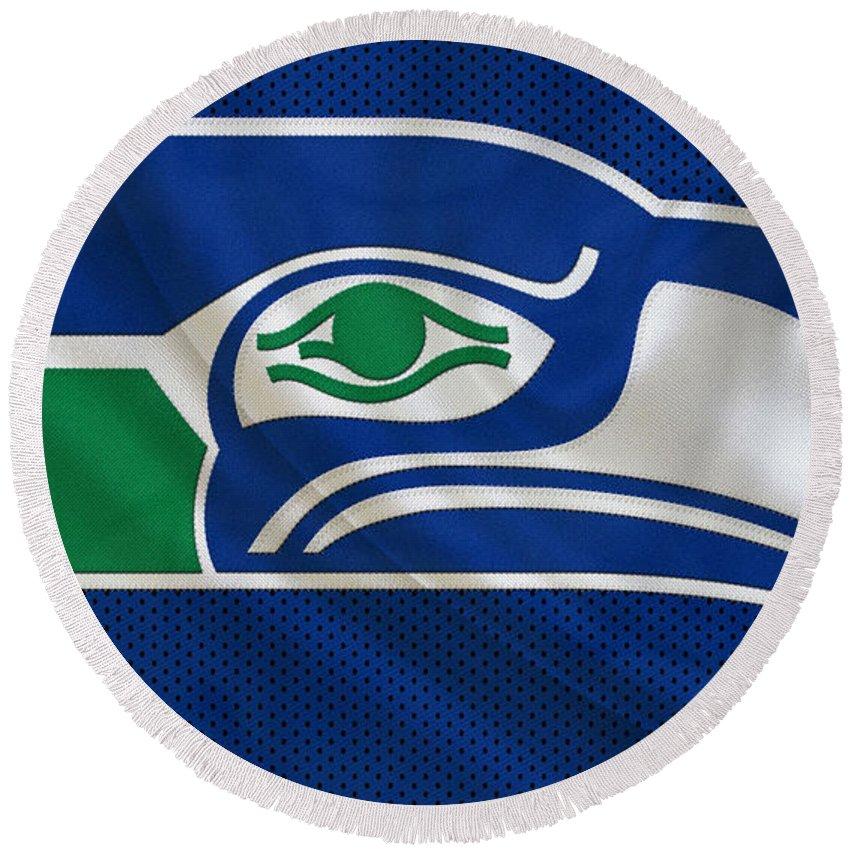 Seahawks Round Beach Towel featuring the photograph Seattle Seahawks by Joe Hamilton