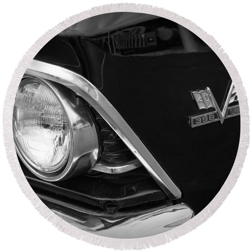 Classic Car Round Beach Towel featuring the photograph 396 Turbo Jet by Lauri Novak