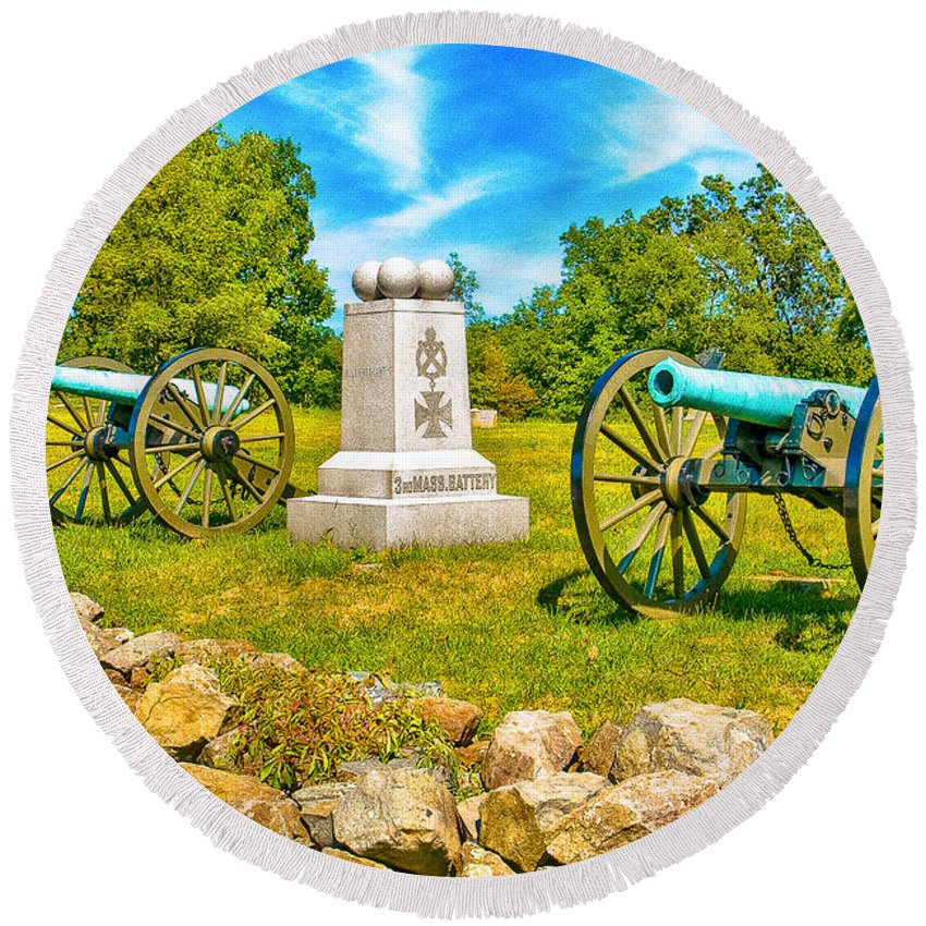 Civil Round Beach Towel featuring the photograph 3rd Massachusetts Battery Gettysburg National Military Park by Bob and Nadine Johnston