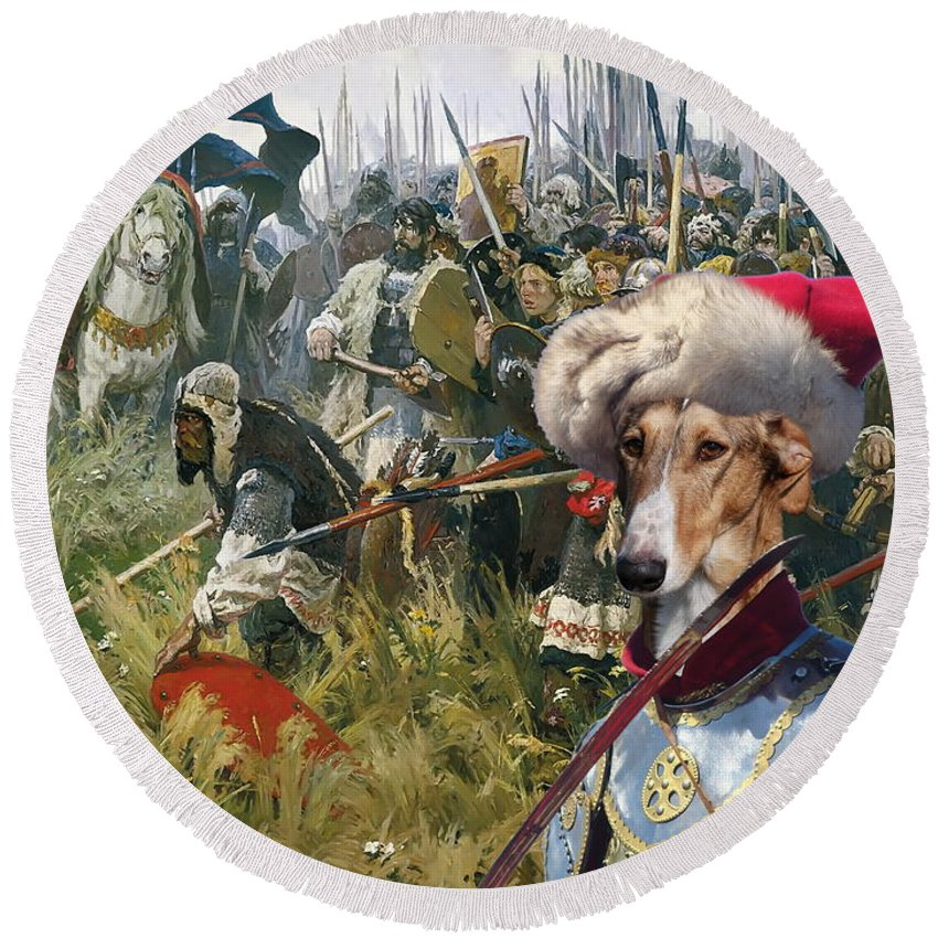 Chart Polski Round Beach Towel featuring the painting Chart Polski - Polish Greyhound Art Canvas Print by Sandra Sij