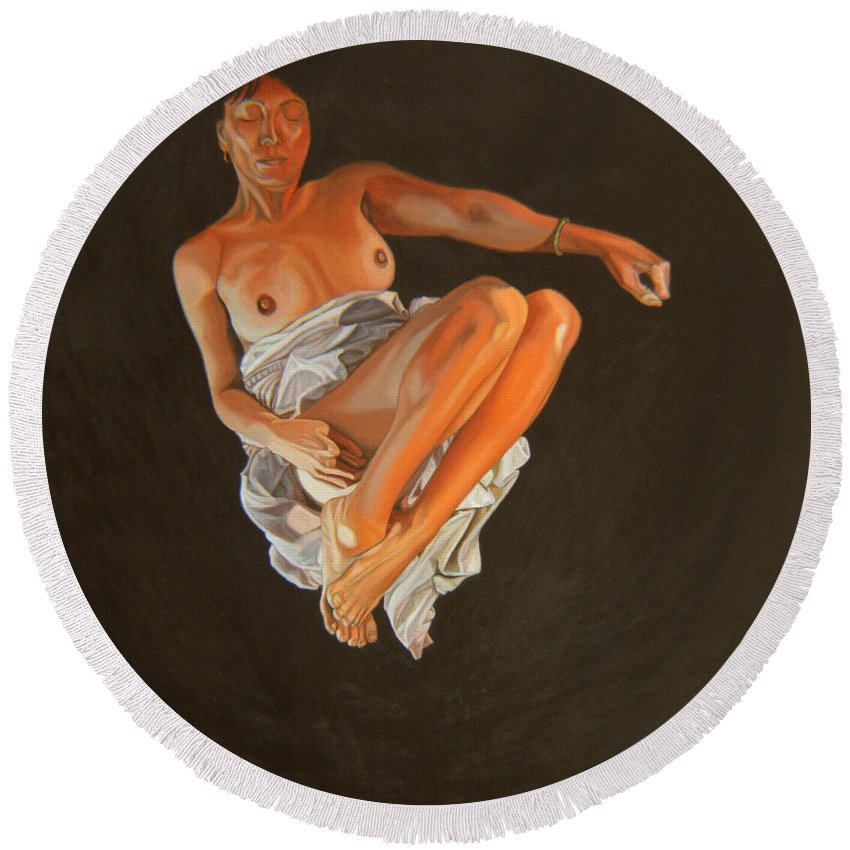 Semi-nude Round Beach Towel featuring the painting 4 30 Am by Thu Nguyen