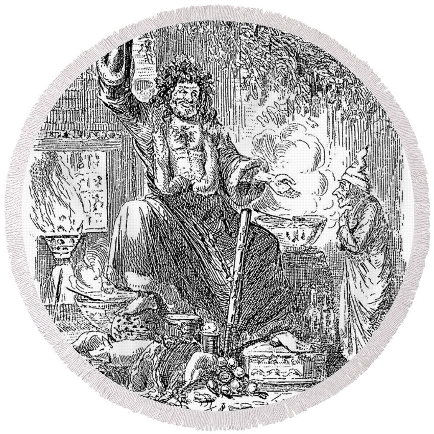 1843 Round Beach Towel featuring the drawing A Christmas Carol by Granger