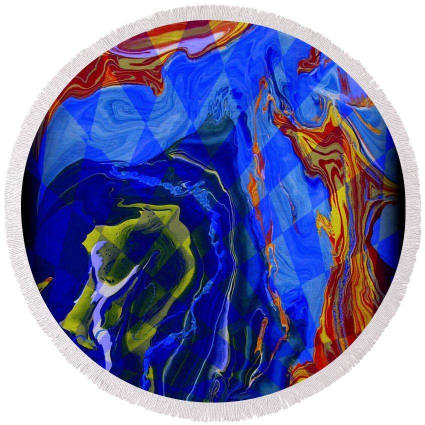 Original Round Beach Towel featuring the painting Abstract 30 by J D Owen