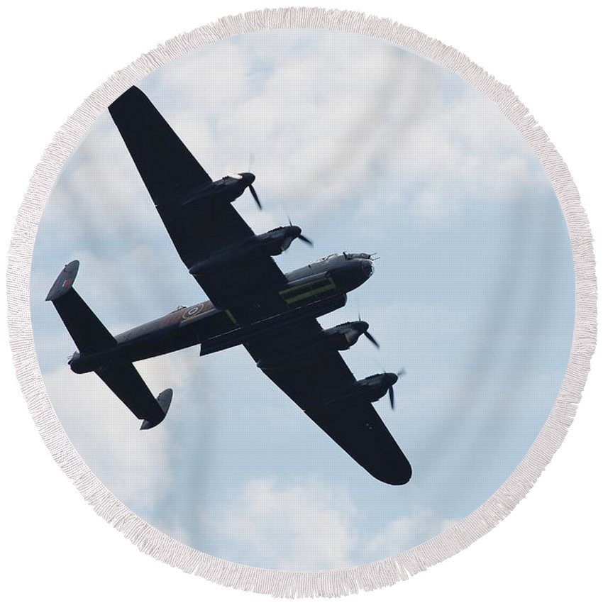 Avro Round Beach Towel featuring the photograph Avro Lancaster Bomber by David Fowler