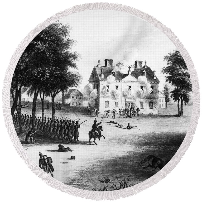 1777 Round Beach Towel featuring the photograph Battle Of Germantown, 1777 by Granger