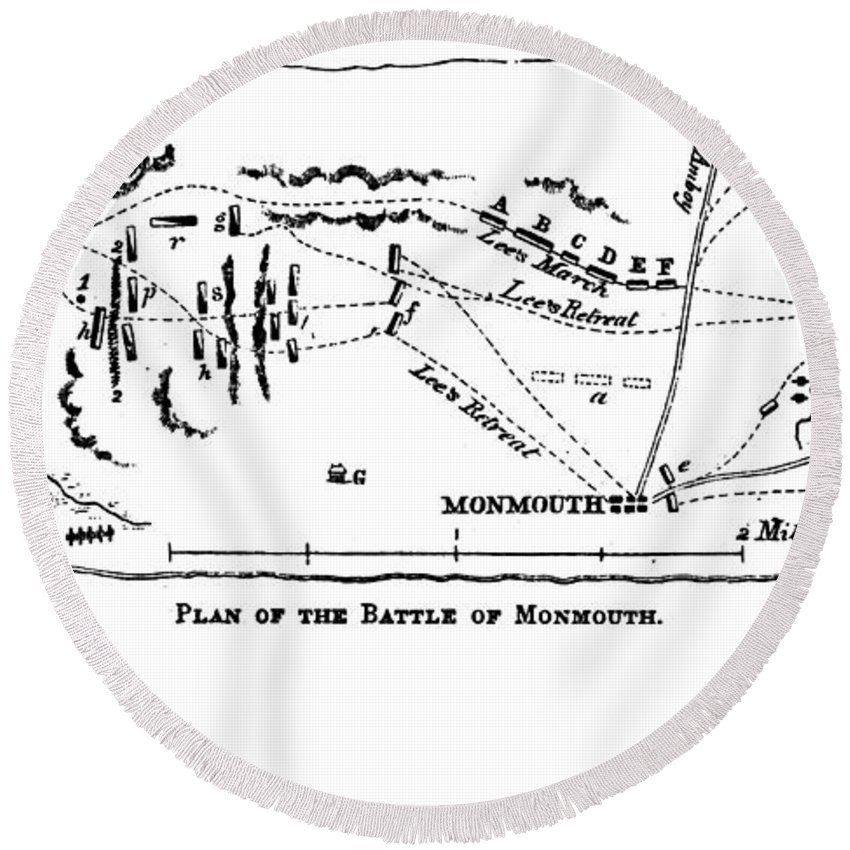 1778 Round Beach Towel featuring the photograph Battle Of Monmouth, 1778 by Granger