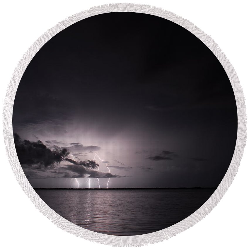 Powerful Round Beach Towel featuring the photograph 4 Bolts From Above by Quinn Sedam