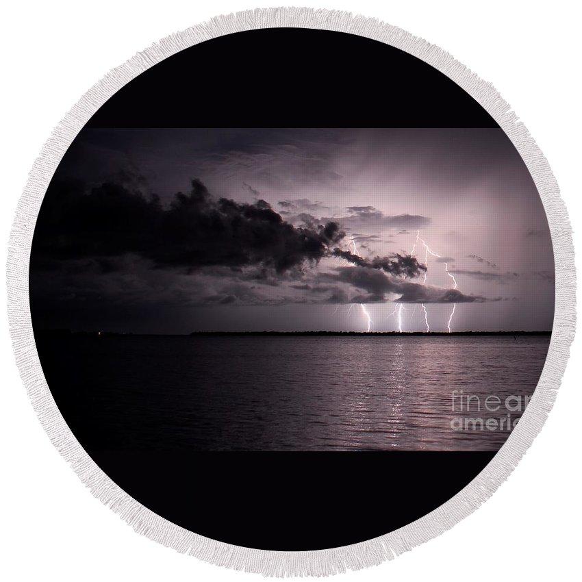 Powerful Round Beach Towel featuring the photograph 4 Bolts Over Captiva Island by Quinn Sedam