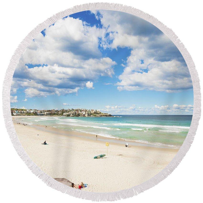 Architecture Round Beach Towel featuring the photograph Bondi Beach In Sydney Australia by Jacek Malipan