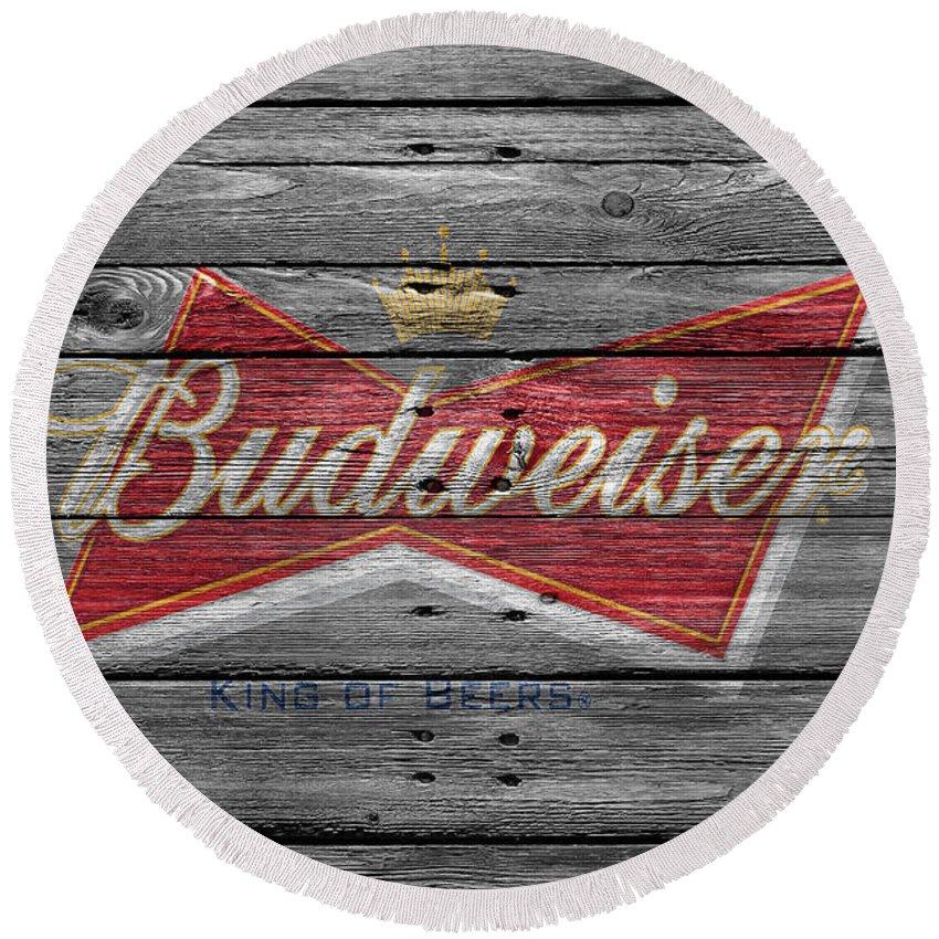 Budweiser Round Beach Towel featuring the photograph Budweiser 4 by Joe Hamilton