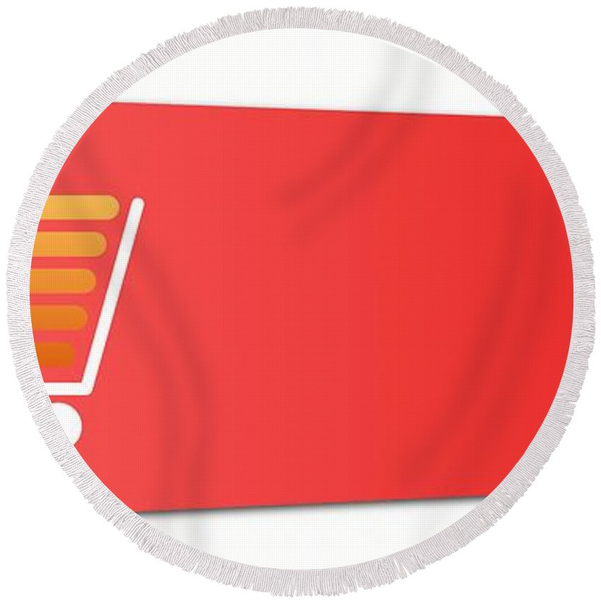 Red Round Beach Towel featuring the digital art Buy Now Red by Henrik Lehnerer