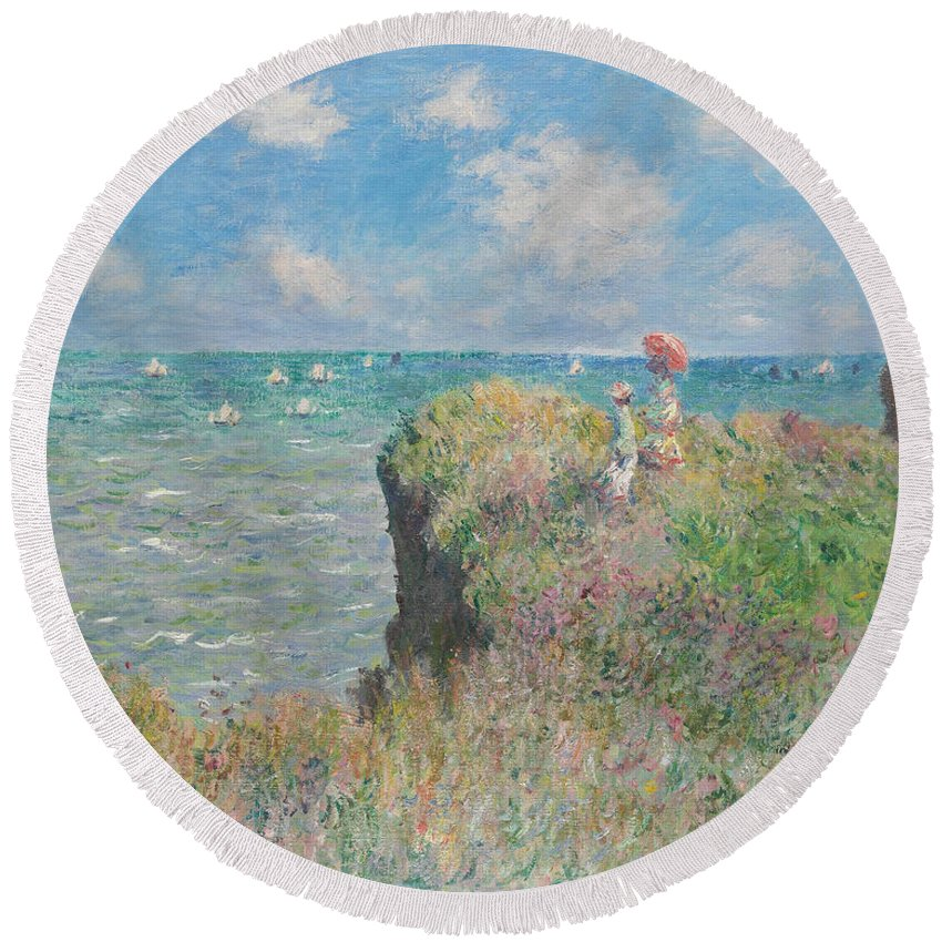 Claude Monet Round Beach Towel featuring the painting Cliff Walk At Pourville by Claude Monet